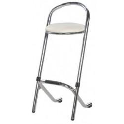 Tabouret chromé assise blanche